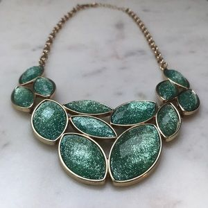 Shimmering Statement Necklace Turquoise Blue Gold